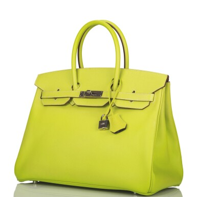 """View 5. Thumbnail of Lot 31. Hermès Bi-color Kiwi and Lichen """"Candy"""" Birkin 35cm of Epsom Leather with Palladium Hardware."""