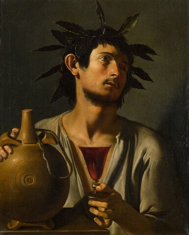 View 1. Thumbnail of Lot 11. PSEUDO-TOMMASO SALINI     PORTRAIT OF A YOUNG MAN AS BACCHUS .