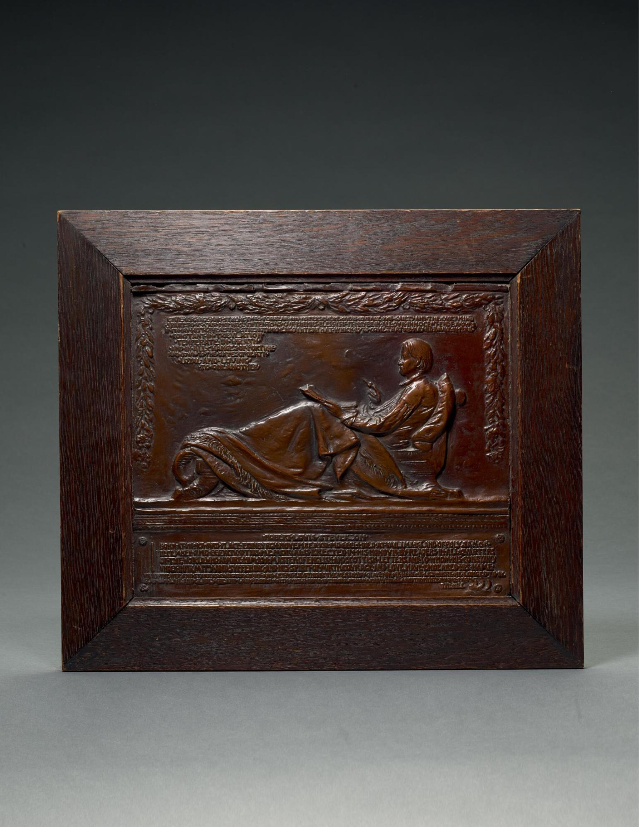 View full screen - View 1 of Lot 76.  AUGUSTUS SAINT-GAUDENS   RELIEF WITH ROBERT LOUIS STEVENSON (FOR HIS MEMORIAL IN SAINT GILES CATHEDRAL).