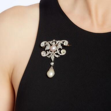 View 4. Thumbnail of Lot 6. Natural pearl and diamond brooch, circa 1910.