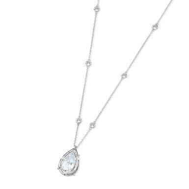 View 3. Thumbnail of Lot 10. Diamond Pendant-Necklace.