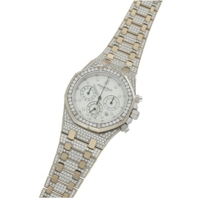 View 2. Thumbnail of Lot 3. AUDEMARS PIGUET   REF 25967 ROYAL OAK, A WHITE GOLD AND DIAMOND-SET AUTOMATIC CHRONOGRAPH WRISTWATCH WITH DATE AND BRACELET CIRCA 2010.