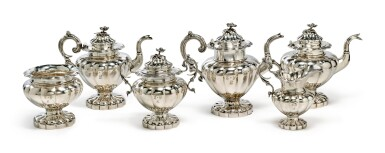 View 1. Thumbnail of Lot 412. A Rare American Southern Silver Six-Piece Tea Set, S&B Brower, New Orleans, 1834-1842.