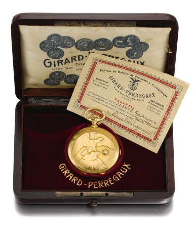 View 6. Thumbnail of Lot 91. GIRARD-PERREGAUX, CHAUX-DE-FONDS [芝柏,拉紹德封] | A GOLD AND DIAMOND SET HUNTING CASED KEYLESS LEVER MINUTE REPEATING GRANDE SONNERIE CLOCK WATCH, THE COVER WITH A BALD EAGLE CIRCA 1900, NO. 323445 [黃金鑲鑽石三問大自鳴懷錶,錶蓋飾白頭鷹,年份約1900,編號323445].