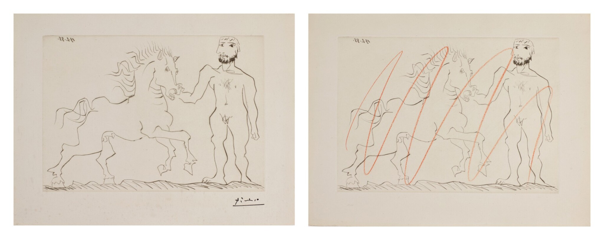 View full screen - View 1 of Lot 129. PABLO PICASSO | TWO WORKS: HOMME NU DEBOUT AVEC UN CHEVAL (B. 304; BA. 632).