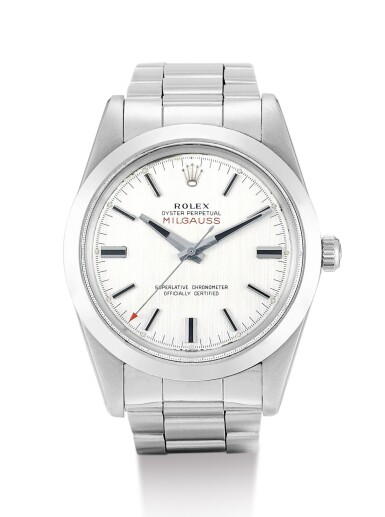 View 1. Thumbnail of Lot 7. ROLEX   MILGAUSS, REFERENCE 1019, A STAINLESS STEEL ANTIMAGNETIC WRISTWATCH WITH BRACELET, CIRCA 1970.