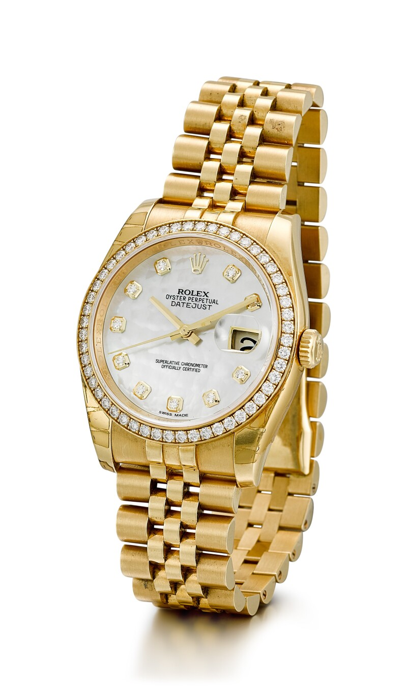 Reference 116238   A Yellow Gold And Diamond-Set Wristwatch With Date, Mother-Of-Pearl Dial And Bracelet, Circa 2018