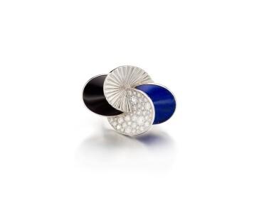 View 1. Thumbnail of Lot 1668. Lapis Lazuli, Onyx and Diamond Ring | 卡地亞 | 青金石 配 縞瑪瑙 及 鑽石 戒指.