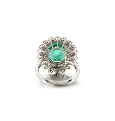 View 3. Thumbnail of Lot 4. EMERALD AND DIAMOND RING.