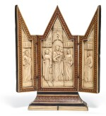 ITALIAN, VENICE OR FLORENCE, EARLY 15TH CENTURY | TRIPTYCH WITH THE VIRGIN AND CHILD ACCOMPANIED BY SAINTS