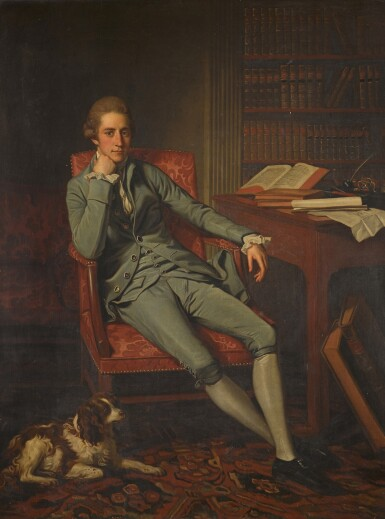 View 1. Thumbnail of Lot 110. Portrait of William Eden, 1st Lord Auckland (1744-1814), seated with his dog in a drawing room.