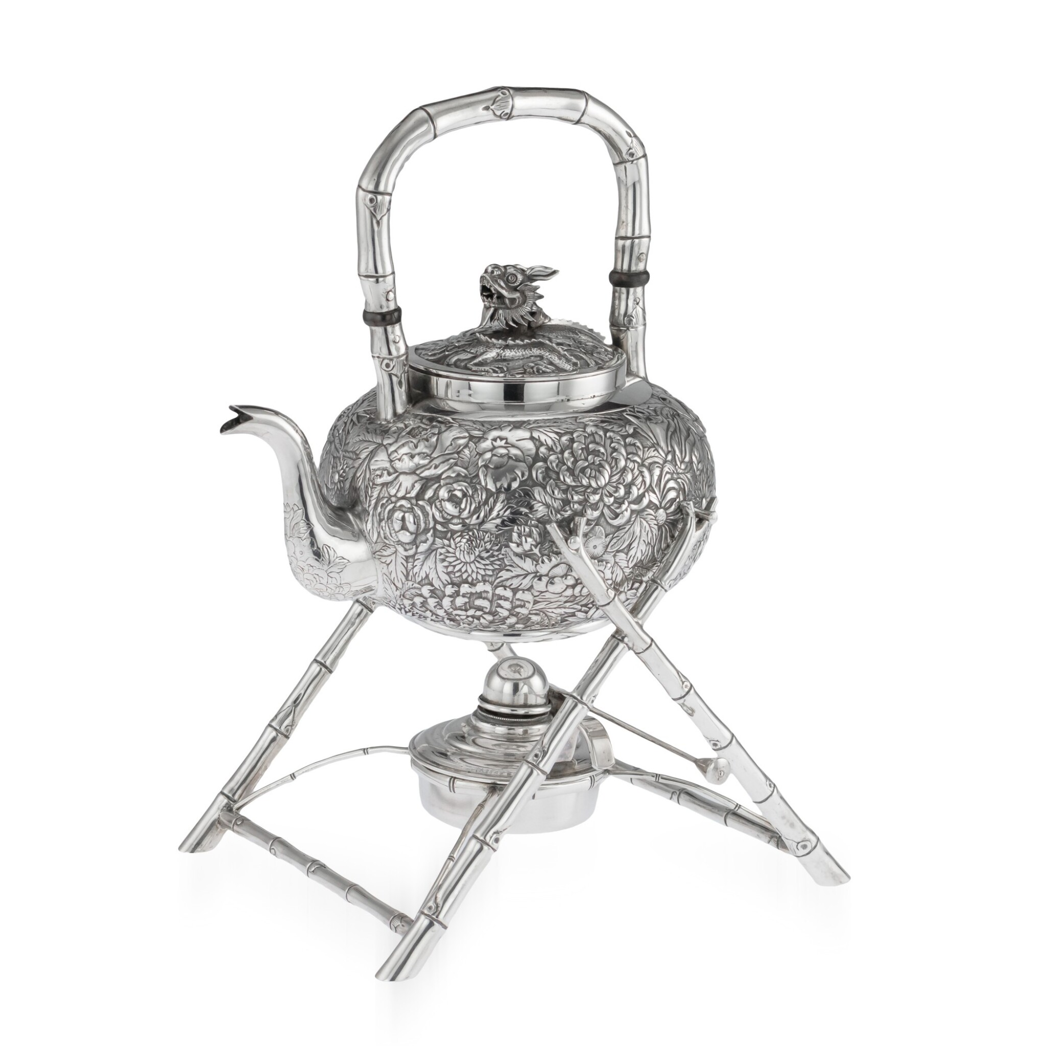 View full screen - View 1 of Lot 6. A CHINESE EXPORT SILVER TEA KETTLE AND BURNER ON STAND, PROBABLY WANG HING, CANTON OR HONG KONG, CIRCA 1900.