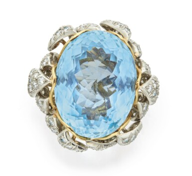 View 1. Thumbnail of Lot 353. AQUAMARINE AND DIAMOND RING, SCHLUMBERGER FOR TIFFANY & CO..