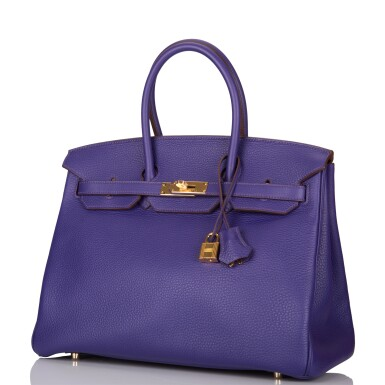 View 5. Thumbnail of Lot 19. Hermès Iris Birkin 35cm of Togo Leather with Gold Hardware.