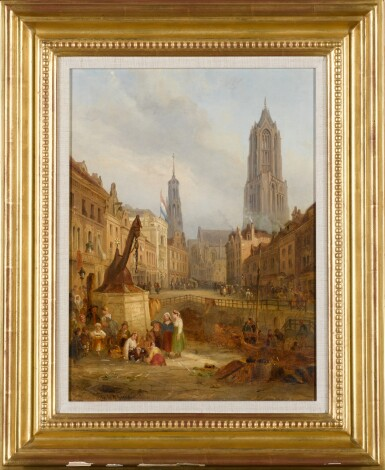 View 2. Thumbnail of Lot 218. FOLLOWER OF DAVID ROBERTS | A view of Utrecht, with the Dom Tower of St. Martin's Cathedral .