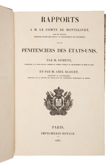View 1. Thumbnail of Lot 134. Demetz, Frédéric-Auguste, & Guillaume-Abel Blouet   First edition of a highly important study of American prisons.