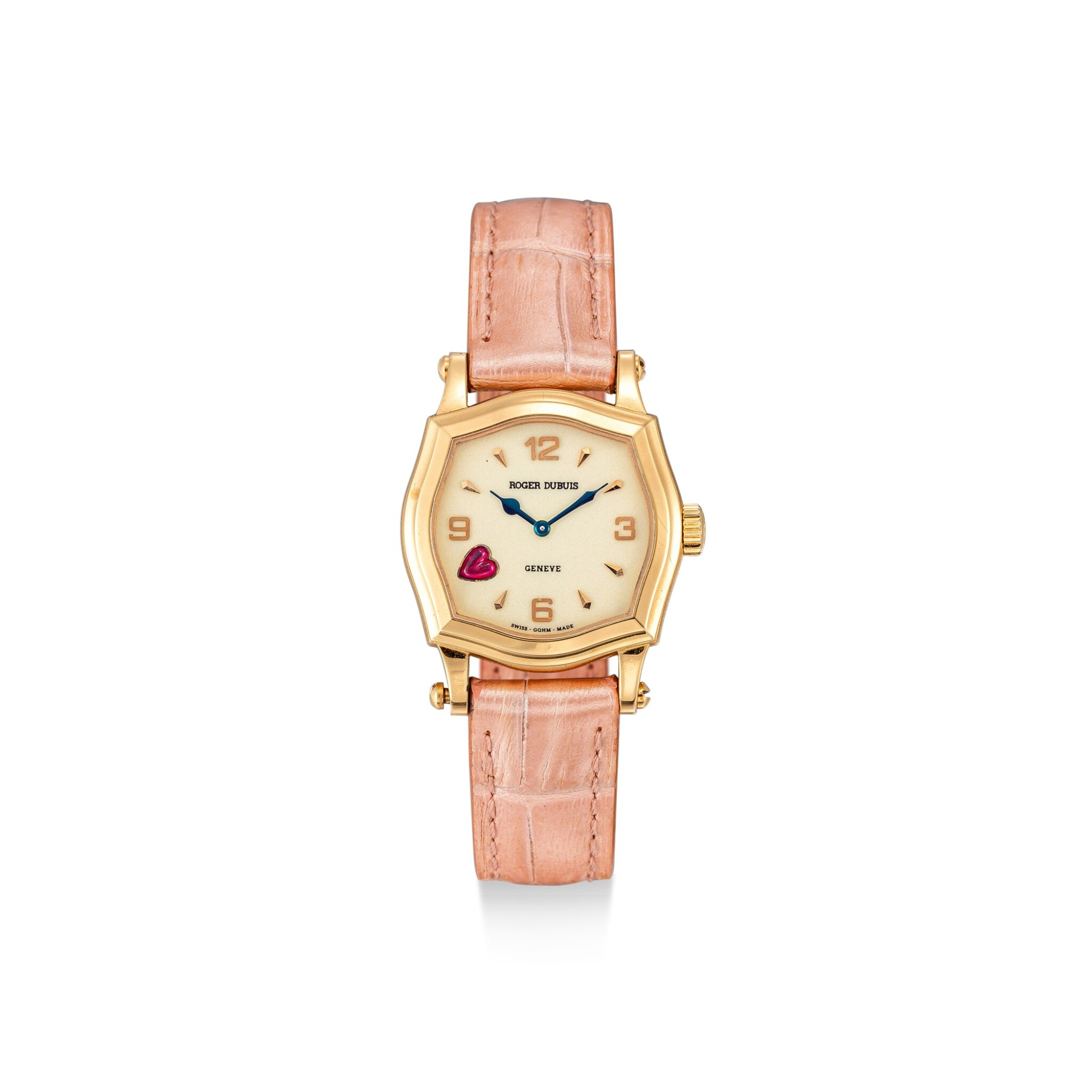 View full screen - View 1 of Lot 613. ROGER DUBUIS  |  A PINK GOLD AND RUBY-SET WRISTWATCH, CIRCA 2000.