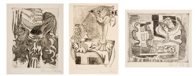 EMIL FILLA | THREE ETCHINGS: (I) HEAD OF MEDUSA; (II) TWO VASES WITH FLOWERS; (III) STILL LIFE WITH PEARS