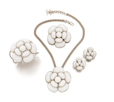 View 1. Thumbnail of Lot 143. Collection of white Camellia jewelry.