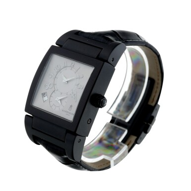 View 2. Thumbnail of Lot 223. REFERENCE UNO/DF A BLACK COATED STAINLESS STEEL DUAL TIME RECTANGULAR WRISTWATCH, CIRCA 2010.
