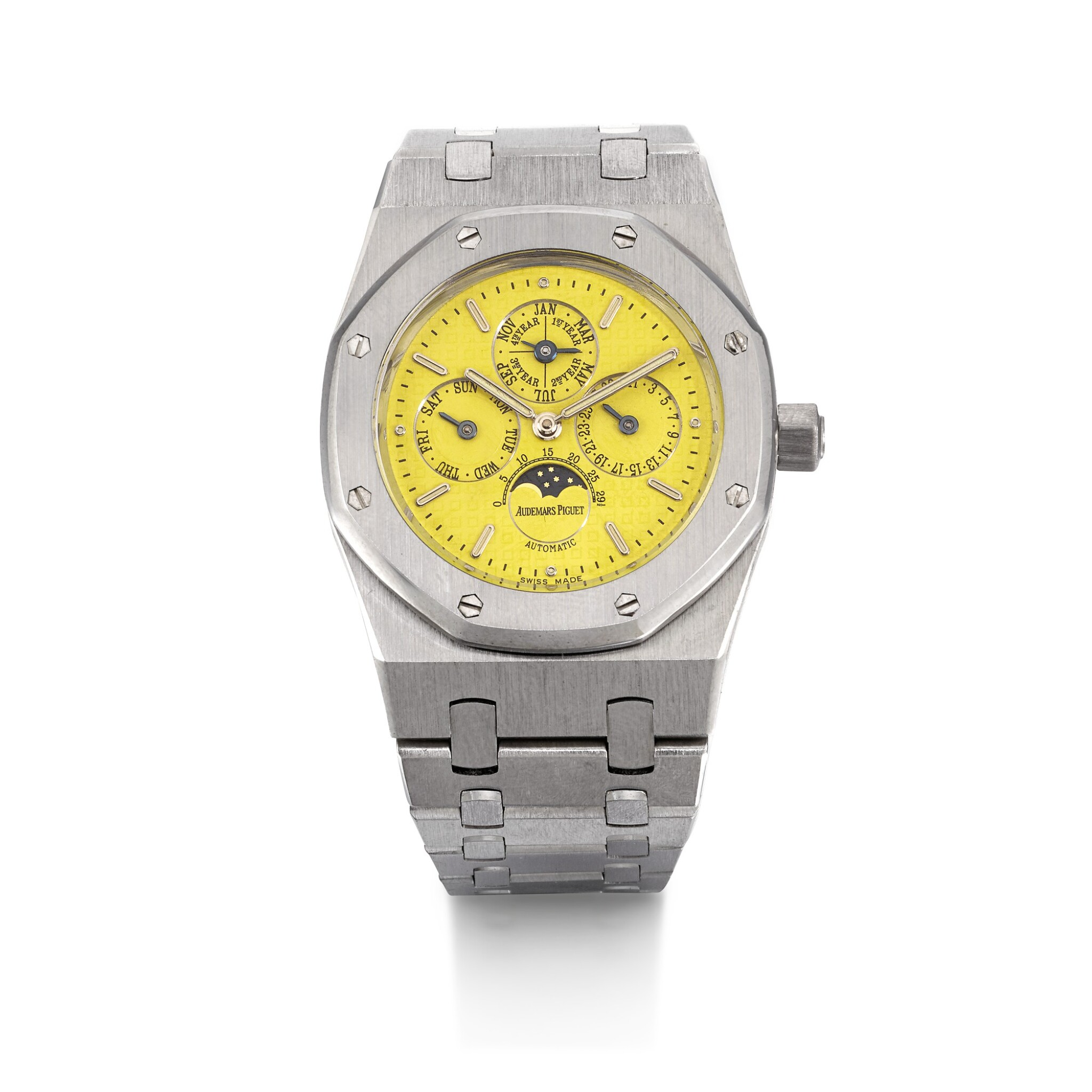 View full screen - View 1 of Lot 201. AUDEMARS PIGUET | AN EXCEPTIONAL ROYAL OAK PERPETUAL CALENDAR, REFERENCE 25800BC WHITE GOLD PERPETUAL CALENDAR BRACELET WATCH WITH A BRIGHT YELLOW DIAL CIRCA 1996.