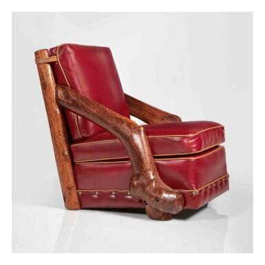 View 1. Thumbnail of Lot 308. A Unique Slant-Arm Club Chair.