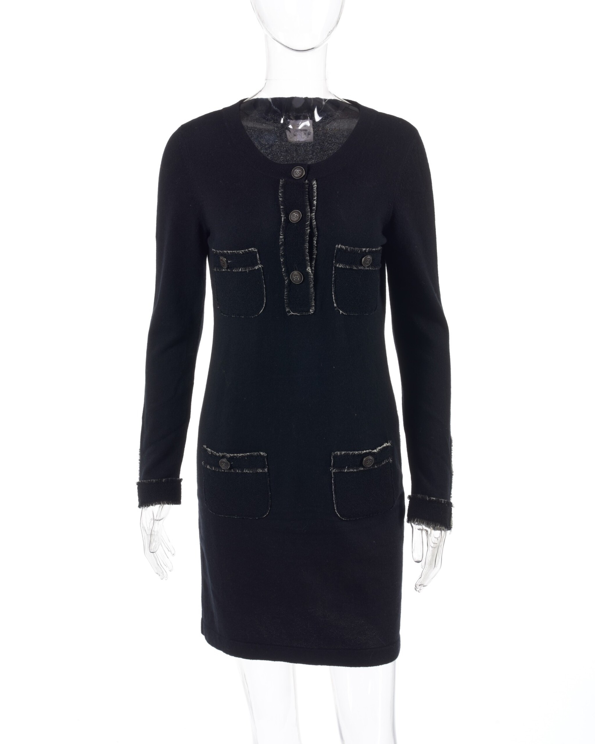 View full screen - View 1 of Lot 174. Black cashmere mini dress.