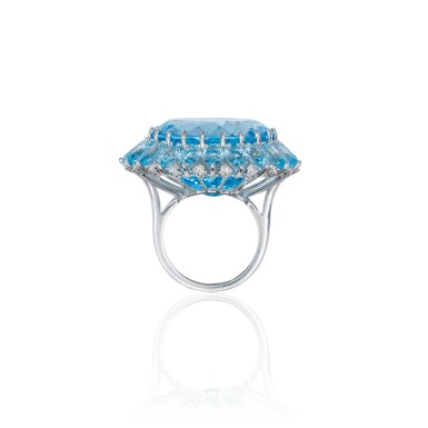 View 3. Thumbnail of Lot 22. BLUE TOPAZ AND DIAMOND RING, MICHELE DELLA VALLE.
