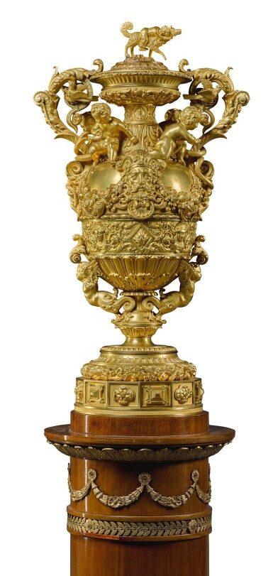 View 2. Thumbnail of Lot 160. A LOUIS-PHILIPPE GILT-BRONZE MOUNTED COVERED VASE, CIRCA 1840, BY THOMIRE & CIE.