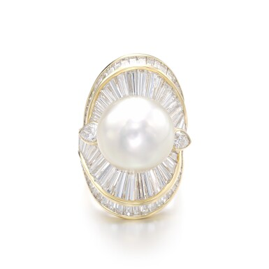 View 1. Thumbnail of Lot 1206. Cultured pearl and diamond ring.