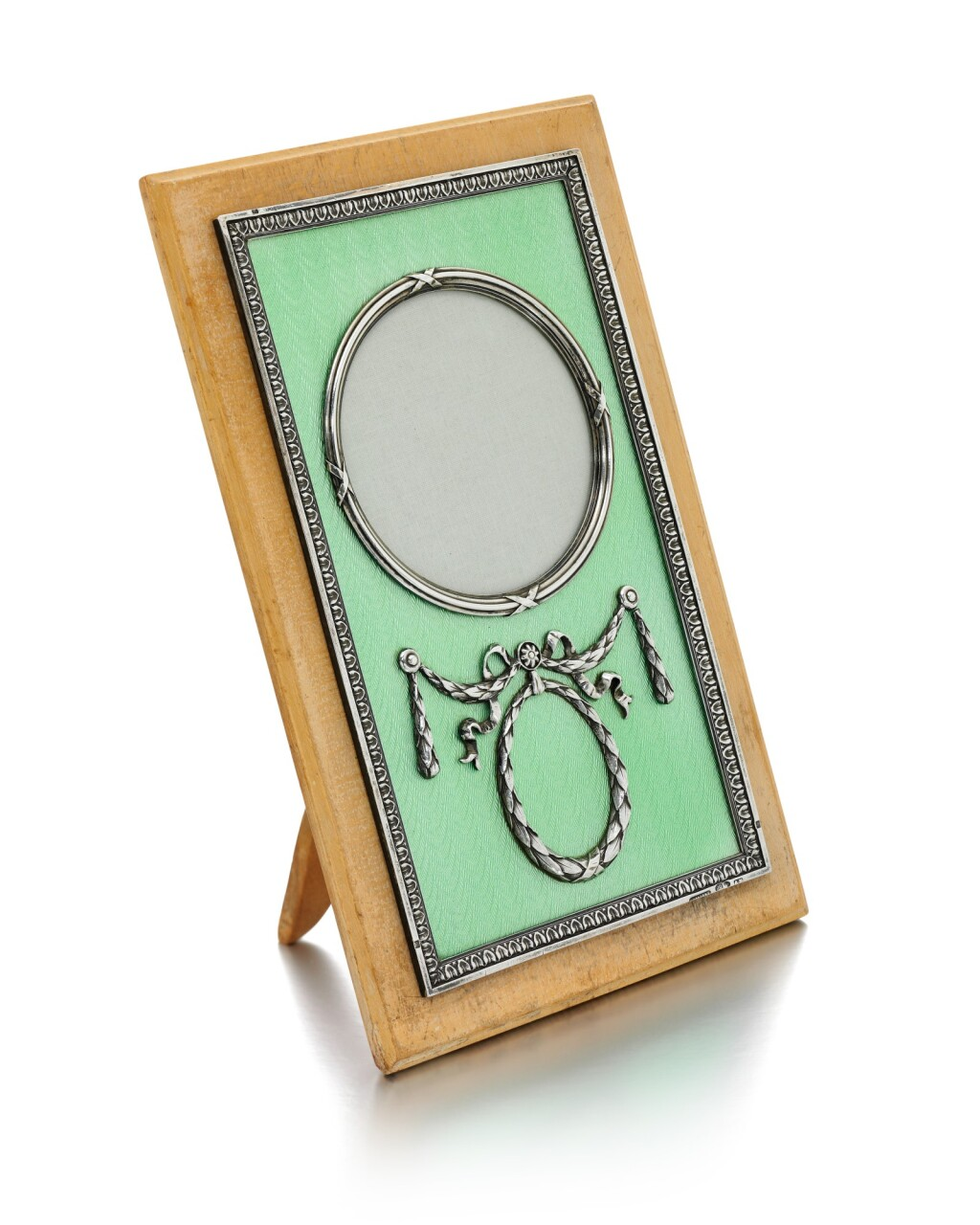 A FABERGÉ SILVER AND GUILLOCHÉ ENAMEL MOUNTED WOODEN FRAME, WORKMASTER ANDERS (ANTTI) NEVALAINEN, ST PETERSBURG, 1908-1917
