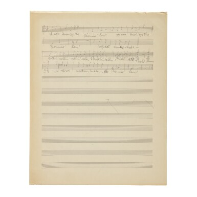 "View 3. Thumbnail of Lot 185. GERSHWIN, GEORGE | Autograph music manuscript of ""Leavin' for de Promise' Lan'"" from the opera Porgy and Bess, Act One Scene Two."