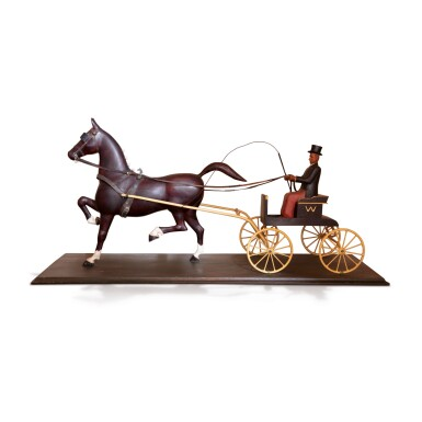FINE AND RARE POLYCHROME PAINT-DECORATED WOODEN HORSE AND CARRIAGE DISPLAY PIECE, AMERICA, CIRCA 1915