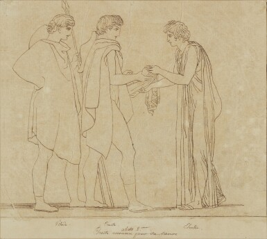 View 2. Thumbnail of Lot 38. JOHN FLAXMAN | THREE SCENES FROM LES EUMENIDES: ACTS I, 2 AND 4.