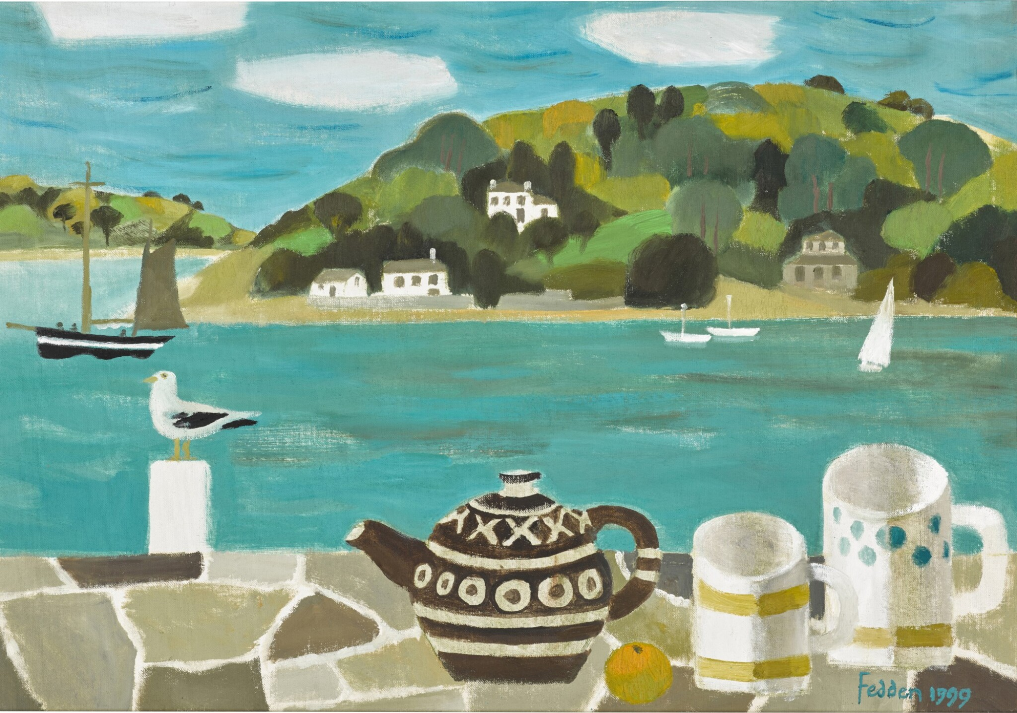 View full screen - View 1 of Lot 111. MARY FEDDEN, R.A.   STILL LIFE WITH ESTUARY.