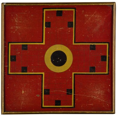 View 1. Thumbnail of Lot 1454. AMERICAN POLYCHROME-PAINTED WOODEN DOUBLE-SIDED PARCHEESI GAMEBOARD, CIRCA 1880.