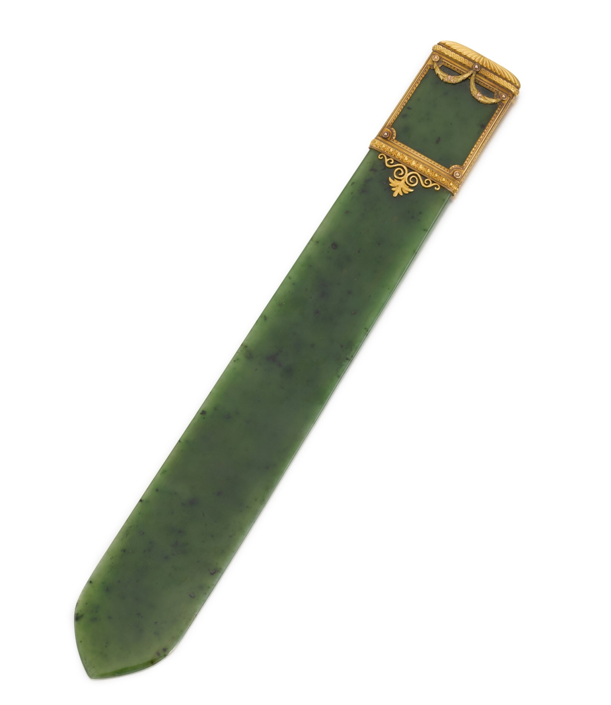 View full screen - View 1 of Lot 21. A Fabergé varicoloured gold-mounted nephrite letter-opener, workmaster Michael Perchin, St Petersburg, circa 1890.