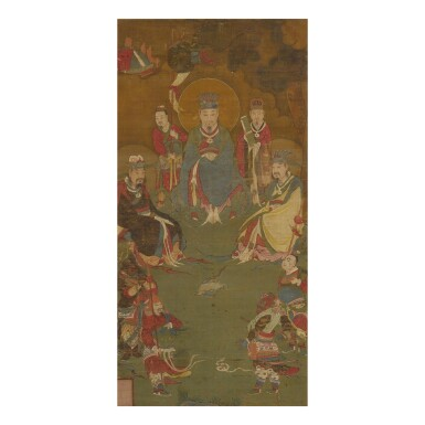 View 1. Thumbnail of Lot 173. A painting of Zhenwu and his court, Qing dynasty, 18th century | 明末 真武大帝圖 設色絹本 裝框.