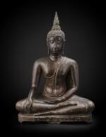 A large bronze seated Buddha Thailand, Ayutthaya period, 15th-17th century | 暹邏 十五至十七世紀 阿瑜陀耶式銅佛坐像