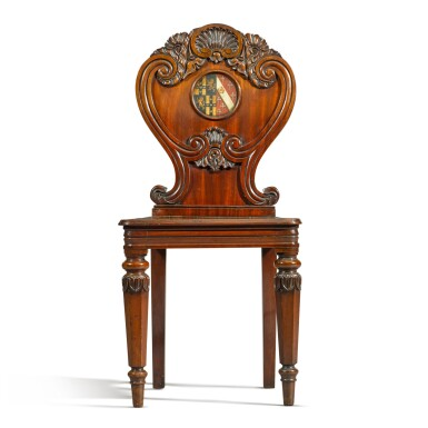 View 3. Thumbnail of Lot 71. A set of six George IV carved mahogany hall chairs, circa 1822, in the manner of Gillows.