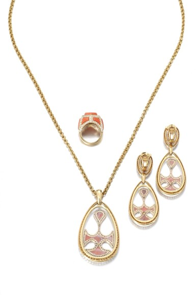 View 3. Thumbnail of Lot 743. Cartier | Coral, rock crystal and diamond demi-parure and a ring, circa 1970 | 卡地亞 | 珊瑚配白水晶及鑽石首飾套裝、戒指一枚,約1970年.