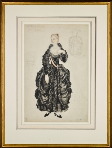 View 2. Thumbnail of Lot 96. Costume Design for Catherine in La Petite Catherine.