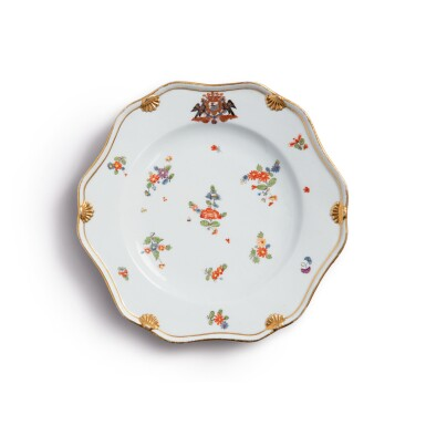 A MEISSEN ARMORIAL PLATE FROM THE 'PODEWILS' SERVICE CIRCA 1741