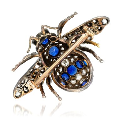 View 3. Thumbnail of Lot 88. Sapphire and diamond brooch, late 19th century.