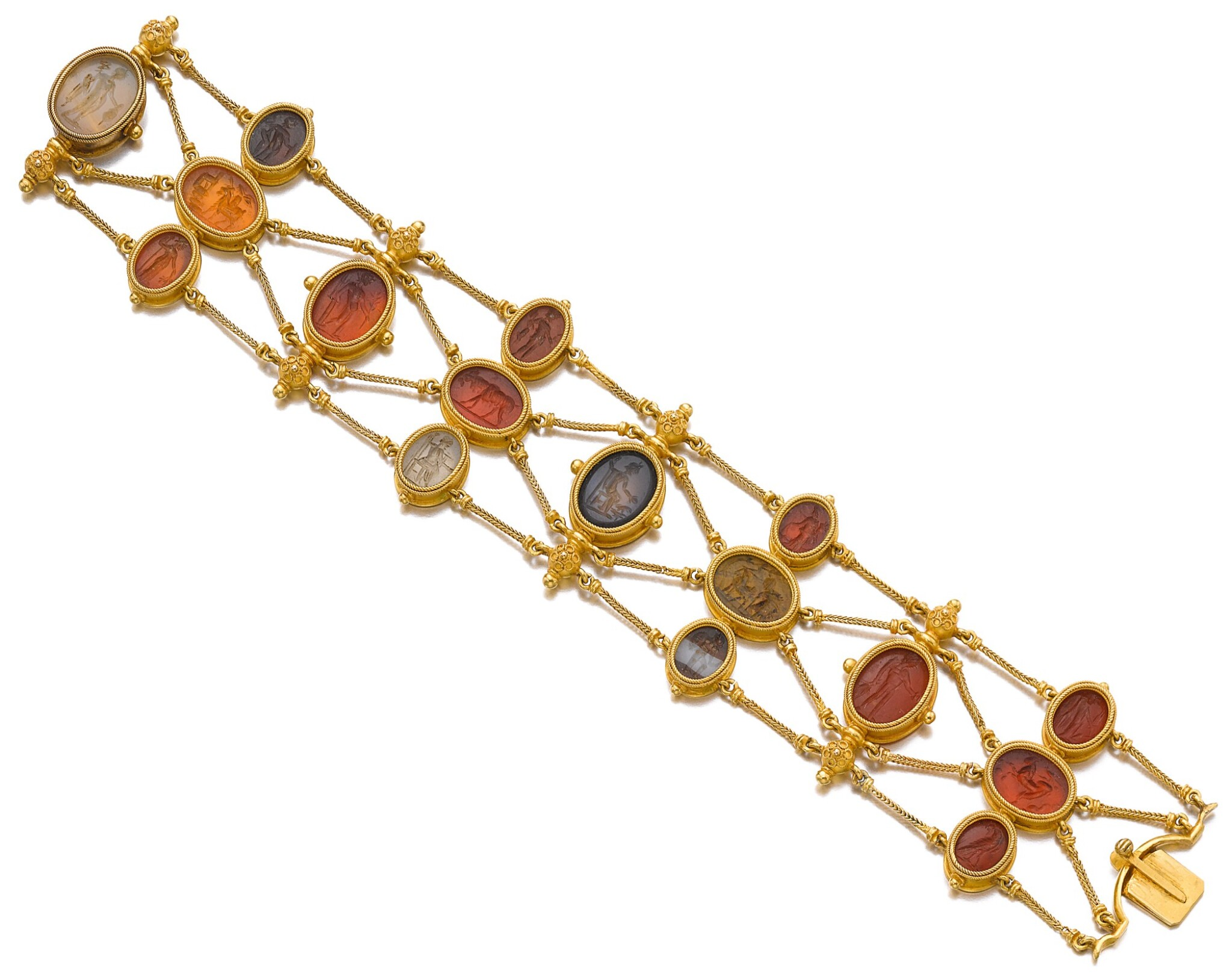 View full screen - View 1 of Lot 149. GOLD AND HARDSTONE INTAGLIO BRACELET, CIRCA 1860.