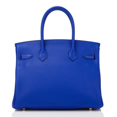 View 4. Thumbnail of Lot 13. Hermès Bleu Electrique Birkin 30cm of Clemence Leather with Gold Hardware.