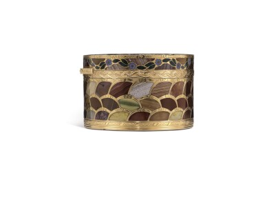 View 6. Thumbnail of Lot 12. A very rare gold and pietra dura 'Steinkabinett', complete with secret compartment and explanatory booklet, Christian Gottlieb Stiehl, Dresden, circa 1770.