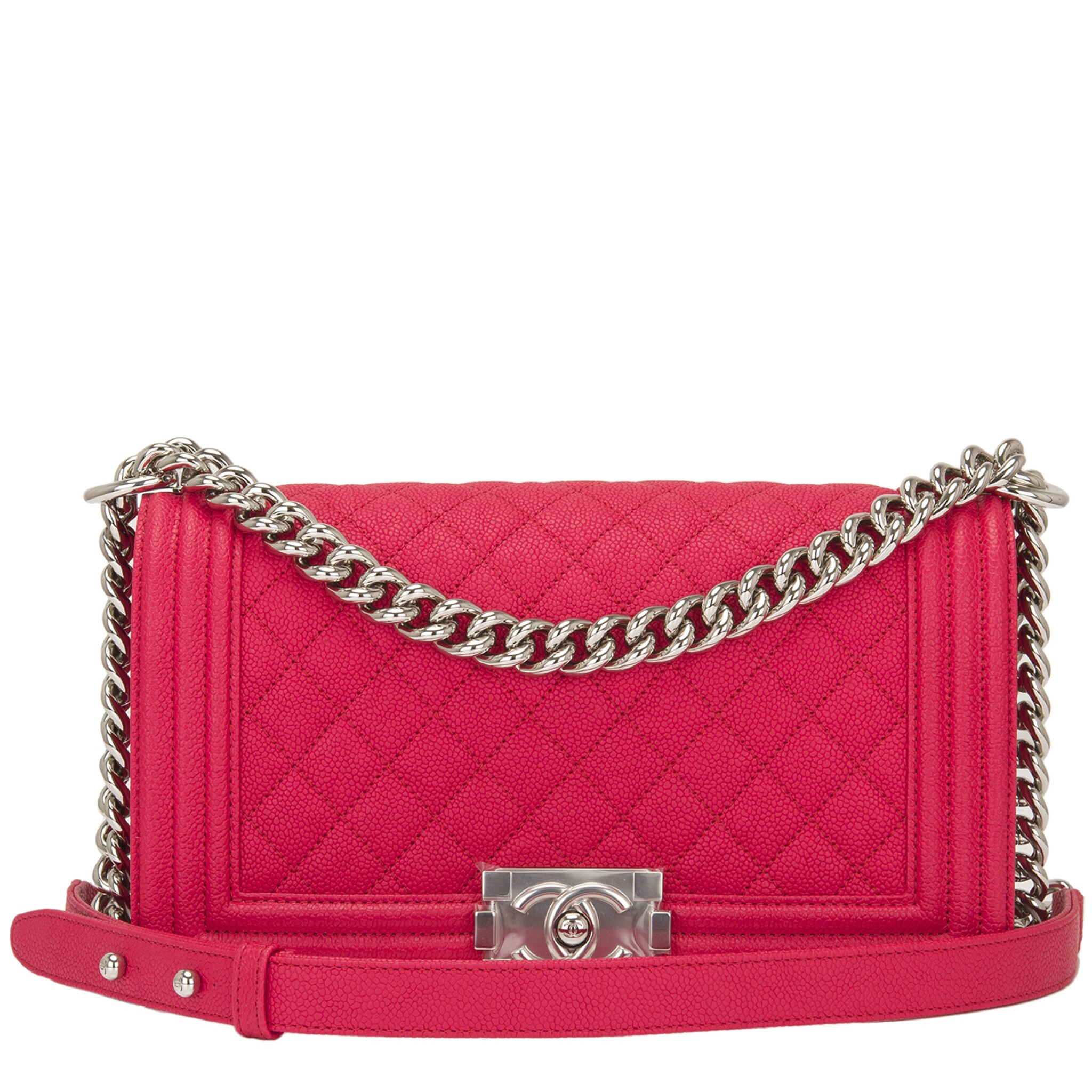 View full screen - View 1 of Lot 186.  Chanel Red Quilted Old Medium Boy Bag of Caviar Leather with Silver Tone Hardware.