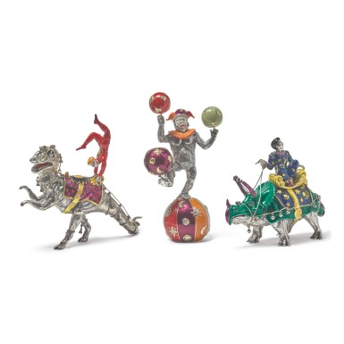 DINOSAURS: A GROUP OF SILVER AND ENAMEL CIRCUS FIGURES, DESIGNED BY GENE MOORE FOR TIFFANY & CO., NEW YORK, CIRCA 1990