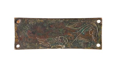 View 2. Thumbnail of Lot 5. SPANISH, POSSIBLY SILOS, OR FRENCH, LIMOGES, THIRD QUARTER 12TH CENTURY | PAIR OF PLAQUES WITH MYTHICAL BIRDS.